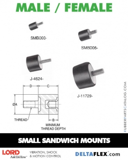 Rubber-Parts-Catalog-Delta-Flex-LORD-Flex-Bolt-Small-Sandwich-Mounts-Male-Female