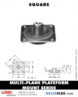 LORD Rubber Multiplane Plateform Mount Series | Square